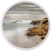 Walk Down To The Mist Round Beach Towel by Peter Tellone