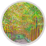 Walk In Park Cathedral Round Beach Towel