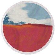 Walk In The Field- Art By Linda Woods Round Beach Towel