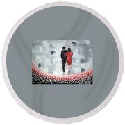 Round Beach Towel featuring the painting Walk In The Garden by Raymond Doward