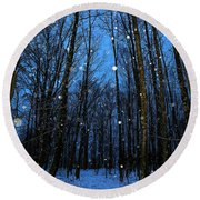 Walk In The Snowy Woods Round Beach Towel