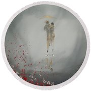 Round Beach Towel featuring the painting Walk In The Storm by Raymond Doward