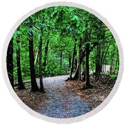 Round Beach Towel featuring the photograph Walk In The Woodlands by Gary Wonning