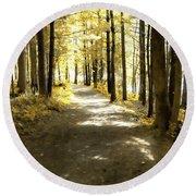 Walk In The Woods Round Beach Towel