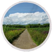 Walk Into The Clouds Round Beach Towel