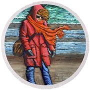 Walk On Beach Round Beach Towel