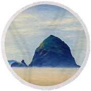 Round Beach Towel featuring the painting Walk On The Beach by Jeff Kolker