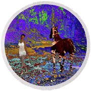 Walk The Enchanted Forest Round Beach Towel