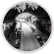 Walk The Tunnel Round Beach Towel by Perry Webster