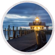Walk To Roanoke Marshes Lighthouse Round Beach Towel