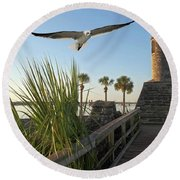 Walk To The Fort Round Beach Towel