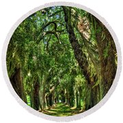 Round Beach Towel featuring the photograph Walk With Me Avenue Of Oaks St Simons Island Art by Reid Callaway