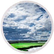 Walk With Me In The Sky Round Beach Towel