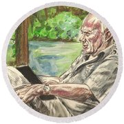Walker Percy At The Lake Round Beach Towel
