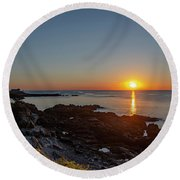 Walkers Point - Sunrise In Kennebunkport Maine Round Beach Towel