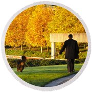 Walkies In Autumn Round Beach Towel