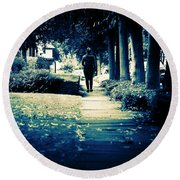Walking A Lonely Path Round Beach Towel