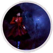 Round Beach Towel featuring the digital art Walking After Midnight by Methune Hively