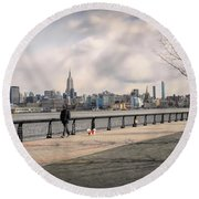 Walking Along Hoboken's Hudson River Waterfront Walkway Round Beach Towel