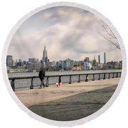 Walking Along Hoboken's Hudson River Waterfront Walkway Round Beach Towel