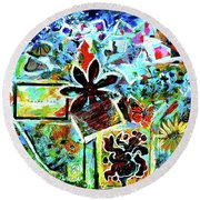 Round Beach Towel featuring the mixed media Walking Amongst The Monarchs by Genevieve Esson