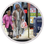 Walking By Faith Round Beach Towel