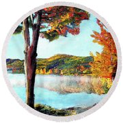 A Walk Down Lake Champlain Round Beach Towel