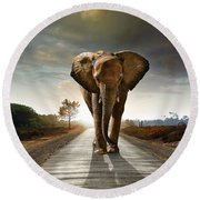 Walking Elephant Round Beach Towel by Carlos Caetano