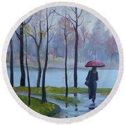 Round Beach Towel featuring the painting Walking In The Rain by Elena Oleniuc