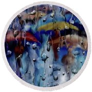 Walking In The Rainfall Round Beach Towel