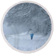 Walking In The Snow Round Beach Towel