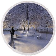 Round Beach Towel featuring the painting Walking In The Snow by Veronica Minozzi