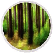 Walking In The Woods Round Beach Towel