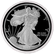 Walking Liberty Proof Silver Dollar Round Beach Towel by Randy Steele