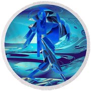 Round Beach Towel featuring the digital art Walking On A Stormy Beach by Robert G Kernodle