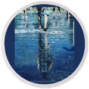 Walking On The Water Round Beach Towel