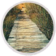 Round Beach Towel featuring the photograph Walking Path by Alexey Stiop