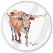 Walking Tall Texas Longhorn Watercolor And Ink By Kmcelwaine Round Beach Towel