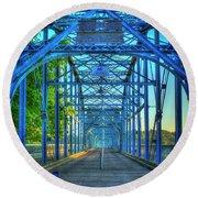 Walking Tall Walnut Street Pedestrian Bridge Art Chattanooga Tennessee Round Beach Towel