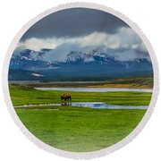 Walking The Big Valley Round Beach Towel by Yeates Photography