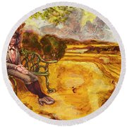 Walking The Dog After Gainsborough Round Beach Towel by Mark Jones