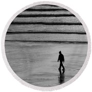 Round Beach Towel featuring the photograph Walking The Dog At Marazion by Brian Roscorla