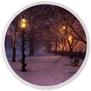 Walking The Path On Salem Common Round Beach Towel