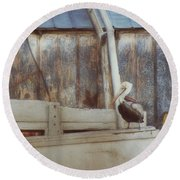 Round Beach Towel featuring the photograph Walking The Plank by Benanne Stiens