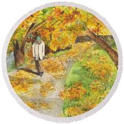 Round Beach Towel featuring the painting Walking The Truckee River by Vicki  Housel