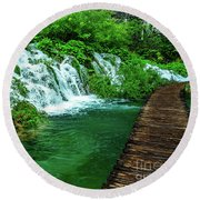 Walking Through Waterfalls - Plitvice Lakes National Park, Croatia Round Beach Towel
