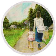 Walking To The Shrine Round Beach Towel