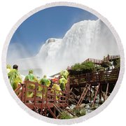Round Beach Towel featuring the photograph Walking Up Below Niagara Falls by Jeff Folger