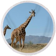 Walking With Mom Round Beach Towel