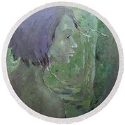 Round Beach Towel featuring the painting Walking With Wonder by Becky Kim